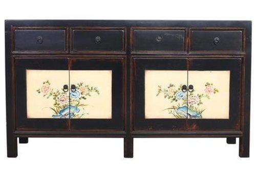 Fine Asianliving Chinees Dressoir Zwart Handgeschilderde Bloemen W154xD45xH87cm