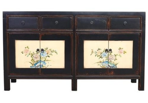 Fine Asianliving Chinese Sideboard Black Handpainted Flowers W154xD45xH87cm