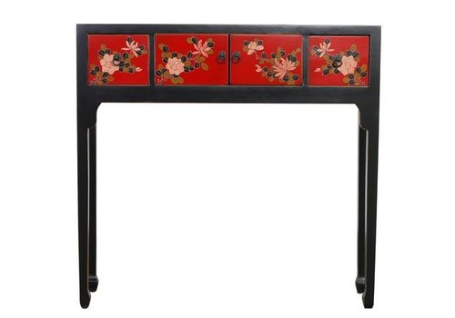 Fine Asianliving Fine Asianliving Chinese Console Table Hallway Table Sidetable L95xW25xH90cm Handpainted Black Flowers