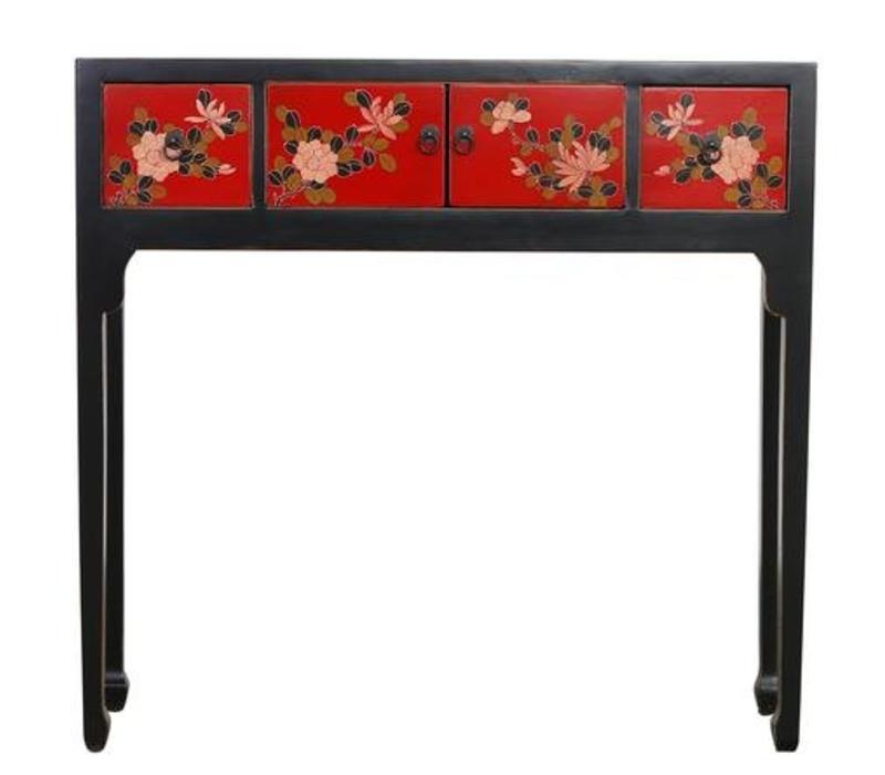 Chinees Sidetable Handgetekende Bloemen Zwart