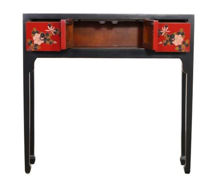 Fine Asianliving Chinese Console Table Hallway Table Sidetable L95xW25xH90cm Handpainted Black Flowers