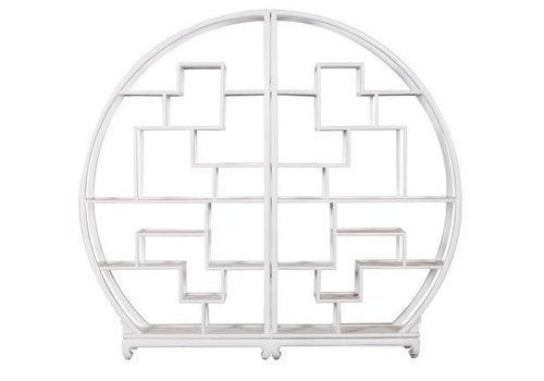 Fine Asianliving Fine Asianliving Chinese Bookcase Round Open Cabinet White L176xH192cm