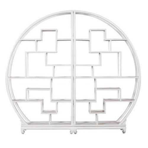 Fine Asianliving Chinese Boekenkast Rond Open Display Kast Wit L176xH192cm