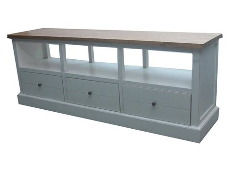 Fine Asianliving Chinese TV Stand Bench with Drawers Contemporary White