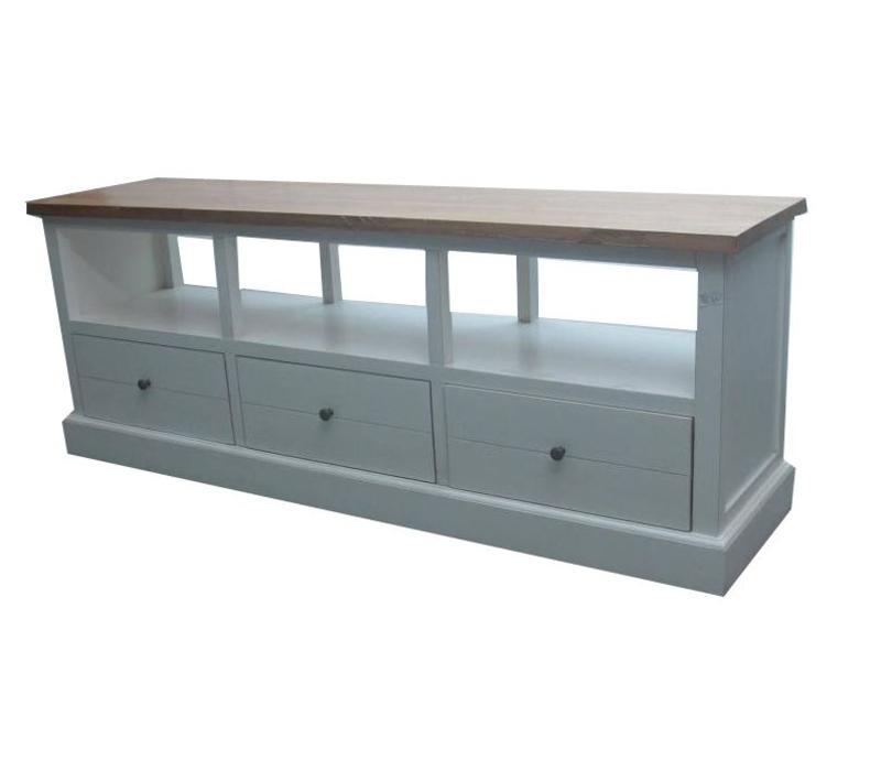 Chinese TV Stand Bench with Drawers Contemporary White