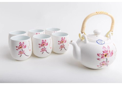 Fine Asianliving Fine Asianliving Chinese Thee Set Porselein Handgeschilderde Water Lily 7-delig