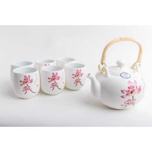 Fine Asianliving Chinese Tea Set Porcelain Handpainted Water Lily 7pcs Luxurious Giftbox