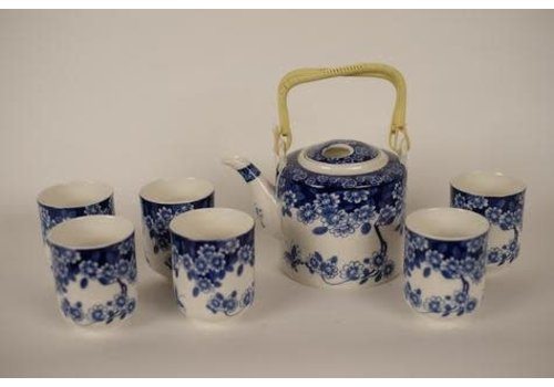 Fine Asianliving Chinese Tea set Blue Flower Set / 7