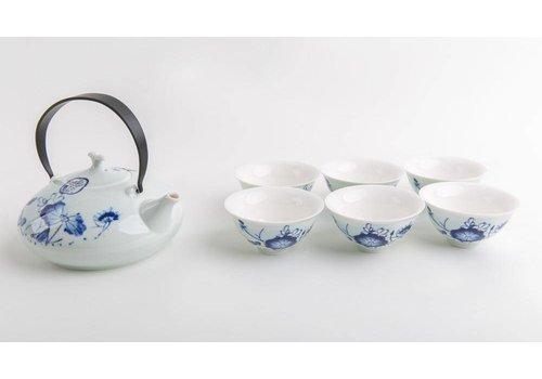 Fine Asianliving Chinese Tea Set Porcelain Blue-White
