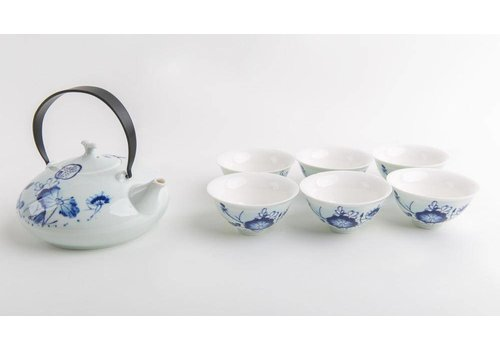 Fine Asianliving Chinese Thee Set Porselein Blauw-Wit