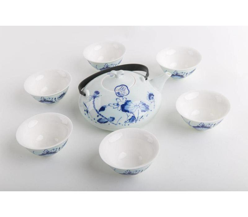 Chinese Thee Set Porselein Blauw-Wit