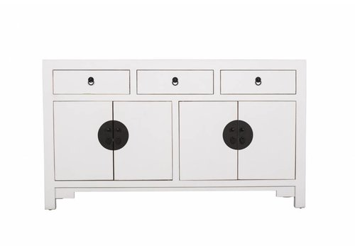 Fine Asianliving Chinesisches Sideboard Kommode Weiss B140xT35xH80cm