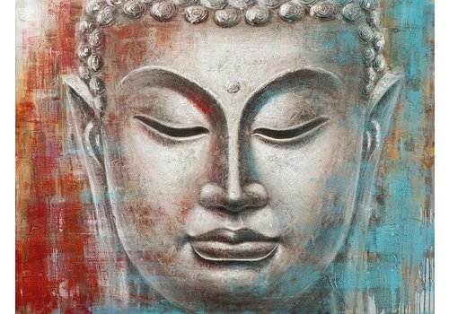 Fine Asianliving Painting Buddha Face Red Blue Metal Foil