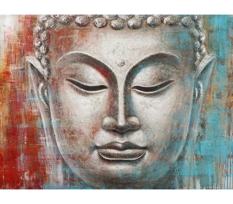 Schilderij Boeddha Gezicht Rood Blauw Metal Foil