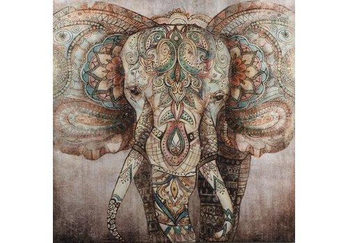 Fine Asianliving Schilderij Olifant Handgeschilderd