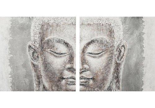 Fine Asianliving Boeddha Schilderij Wanddecoratie 3D Metal Foil Tweedelig