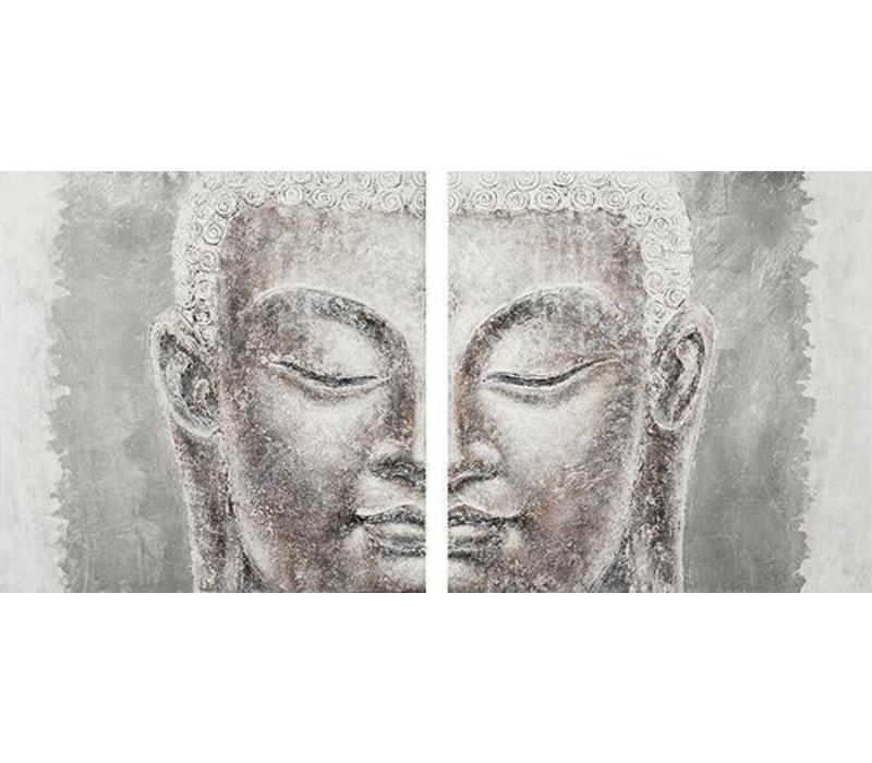 Décoration Murale Bouddha en Feuille Métallique 3D en deux parties