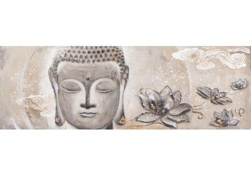 Fine Asianliving Schilderij Boeddha Gezicht met Lotus Liggend 3D