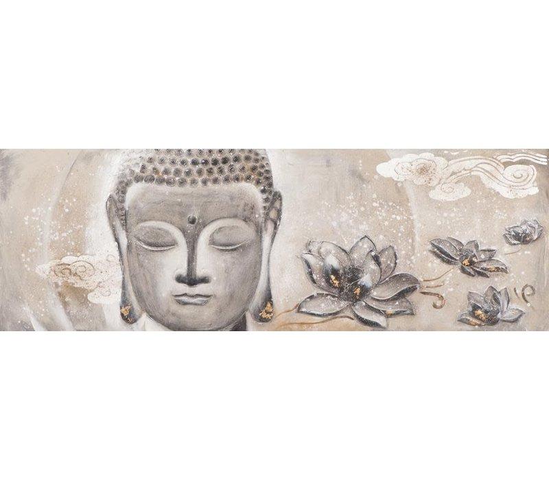 Schilderij Boeddha Gezicht met Lotus Liggend 3D