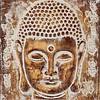 Fine Asianliving Décoration Murale Visage du Bouddha en Feuille Métallique 3D