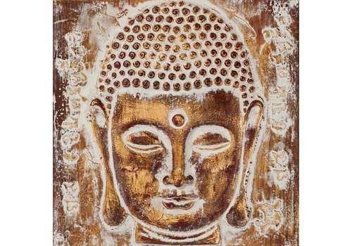 Fine Asianliving Painting Buddha Face Metal Foil 3D