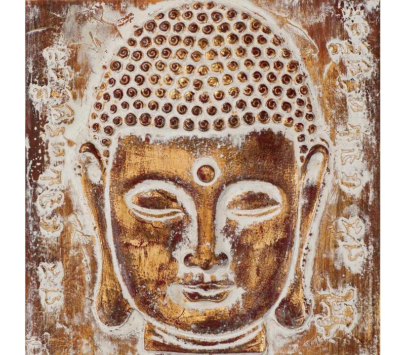 Schilderij Boeddha Gezicht Metal Foil 3D