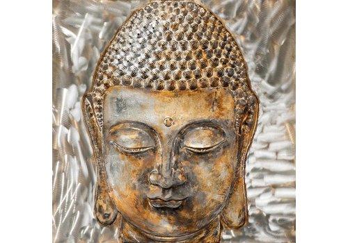 Fine Asianliving Schilderij Boeddha Gezicht Glanzend 3D