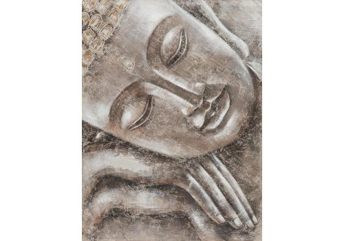 Fine Asianliving Painting Sleeping Buddha Metal Foil