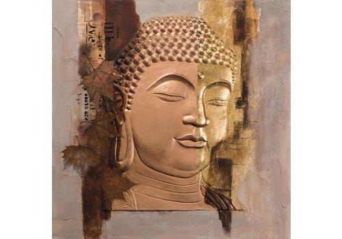 Fine Asianliving Schilderij Boeddha Gezicht Goud Metal Foil 3D