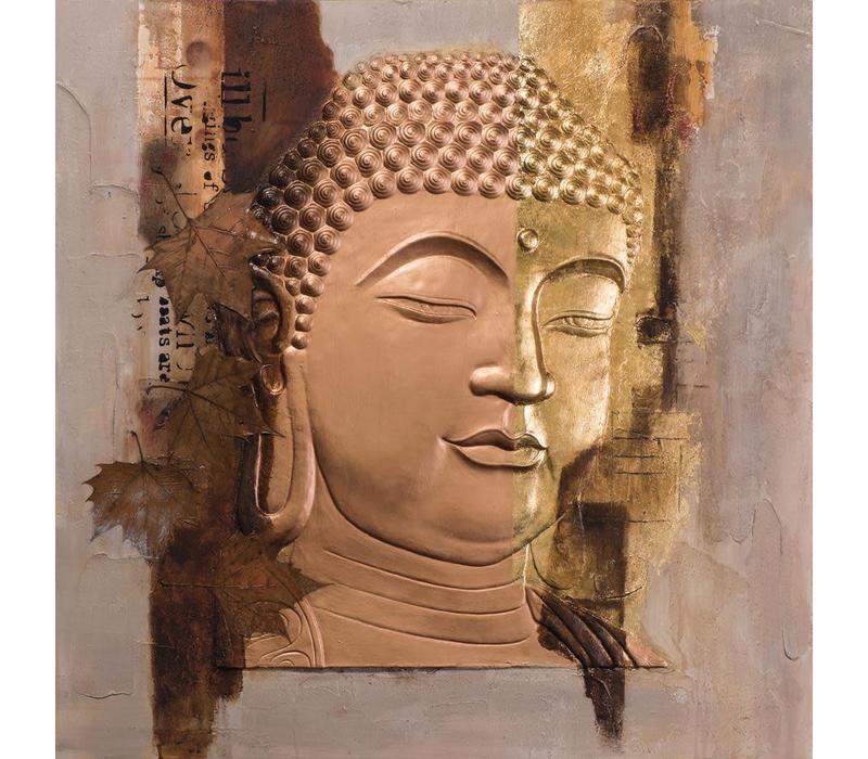 Décoration Murale Visage du Bouddha en Feuille d'Or Métallique 3D
