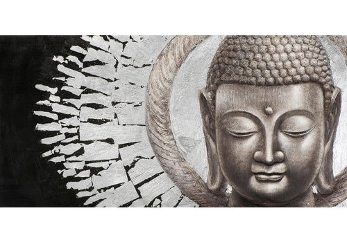 Fine Asianliving Painting Buddha Face Black Background Landscape Metal Foil 3D