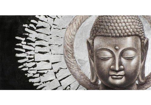 Fine Asianliving Schilderij Boeddha Gezicht Zwart Achtergrond Liggend Metal Foil 3D