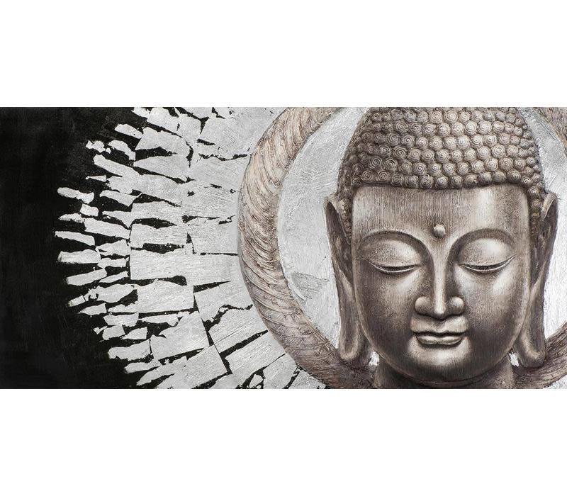 Schilderij Boeddha Gezicht Zwart Achtergrond Liggend Metal Foil 3D