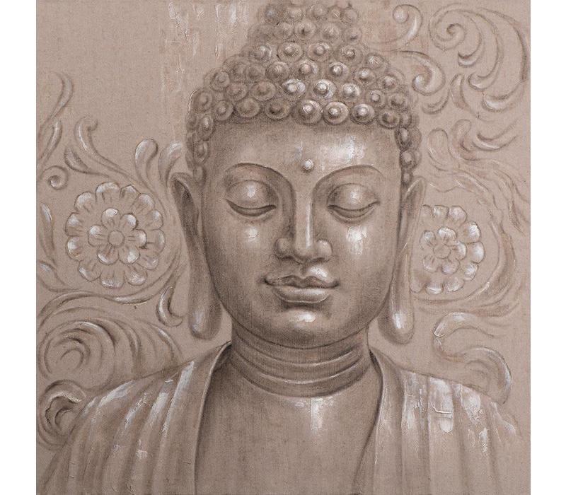 Schilderij Boeddha Gezicht Naturel Handgeschilderd