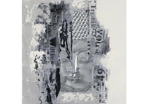 Fine Asianliving Schilderij Boeddha Gezicht Zilver 3D