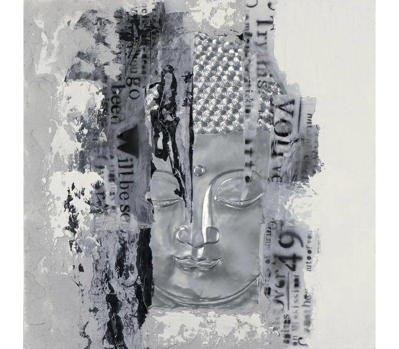 Schilderij Boeddha Gezicht Zilver 3D
