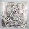Fine Asianliving Boeddha Schilderij Wanddecoratie 3D Metal Foil Zilver