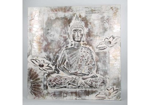 Fine Asianliving Buddha Painting Wall decoration 3D Metal Foil Silver
