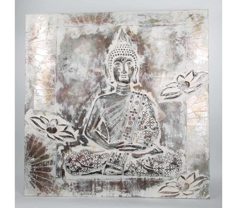 Boeddha Schilderij Wanddecoratie 3D Metal Foil Zilver