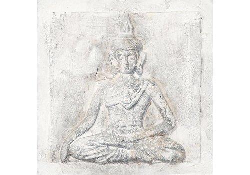 Fine Asianliving Schilderij Boeddha Wit Klein 3D