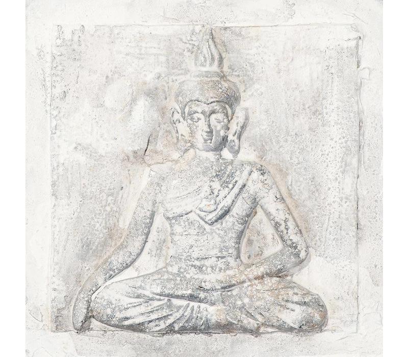Schilderij Boeddha Wit Klein 3D