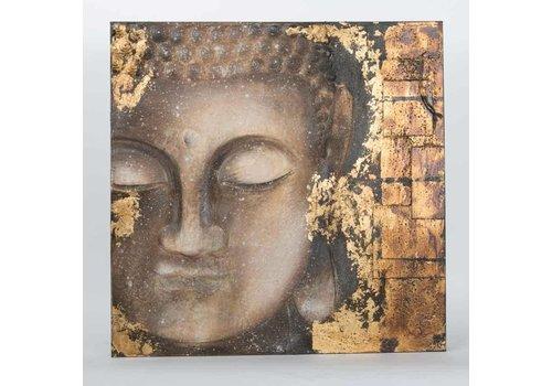 Fine Asianliving Boeddha Schilderij Wanddecoratie 3D Metal Foil
