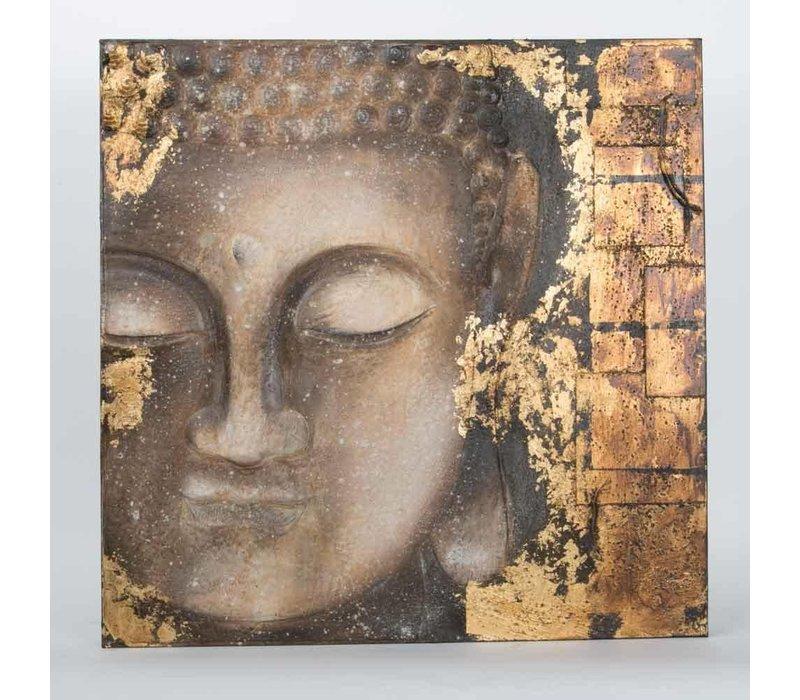 Boeddha Schilderij Wanddecoratie 3D Metal Foil