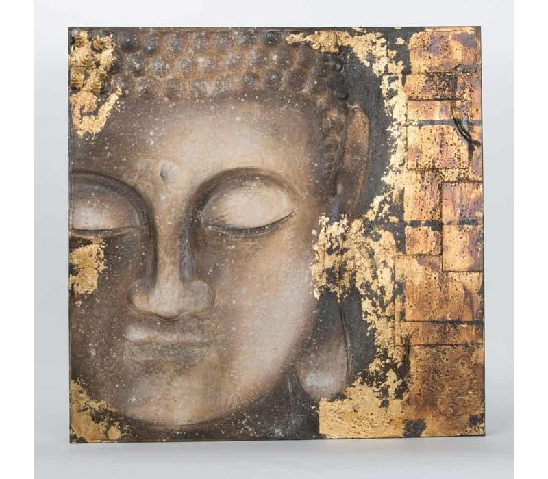 Buddha Painting Wall Decoration 3D Metal Foil