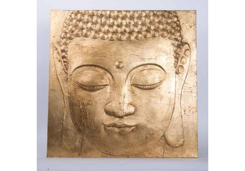 Fine Asianliving Buddha Painting Wall Art 3D Metal Foil Gold
