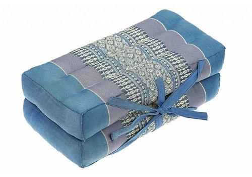 Fine Asianliving Fine Asianliving Thai Cushion Yogaseat 40x40x7cm (Folded) Meditation Pillow Block Kapok Blue