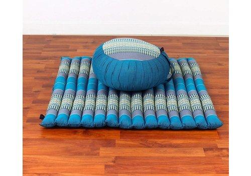 Fine Asianliving Fine Asianliving Thaise Complete Set: Ronde Meditatiekussen Zafu 40x20cm, Meditation Mat Zabuton 76x72cm Blauw