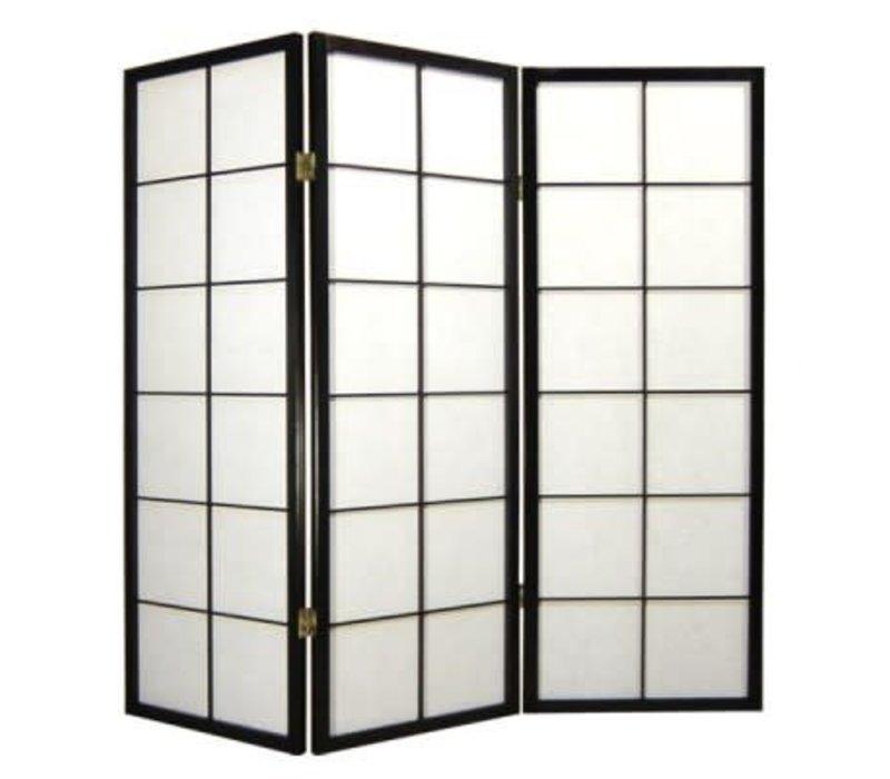 Fine Asianliving Japanese Room Divider L135cmxH130cm Shoji Rice Paper Black 3 Panel