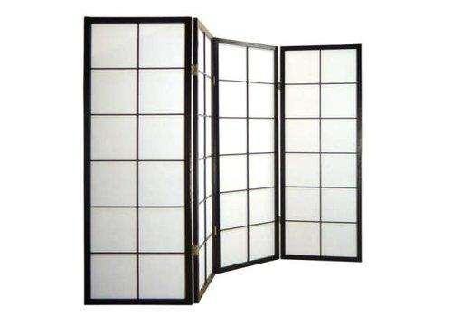 Fine Asianliving Japans Kamerscherm Shoji 4 panelen Zwart