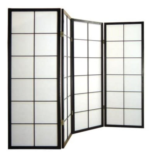 Fine Asianliving Japanese Room Divider L180cmxH130cm Shoji Rice Paper Black 4 Panel